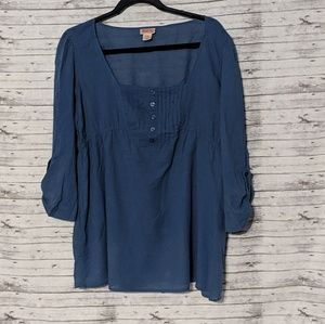 Mossimo peasant blouse SZ:XL 100% cotton blue